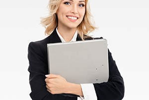 Young smiling businesswoman with grey folder