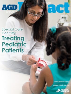 AGD Impact magazine cover about treating pediatric patients