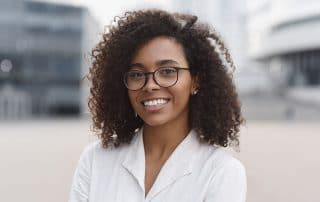 beautiful young woman showing off her bright, white smile